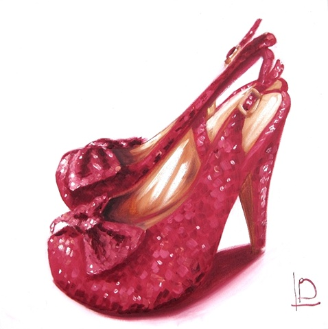 When Dorothy Grew Up, she wore sparkly red high heels shoes like those painted by Brighton artist Linda Boucher.