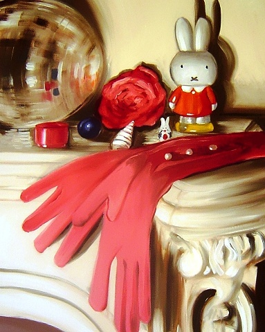 A traditional still life with a modern and contemporary twist. Mirror balls sit alongside elegant evening gloves, and Miffy the Rabbit. Oil on canvas- an original painting by Linda Boucher