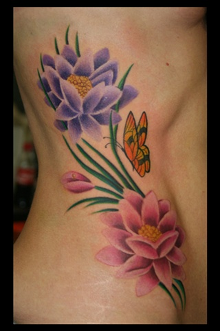 Mike Godfrey Tattoo Lotus Flower Butterfly Color Vines Realistic