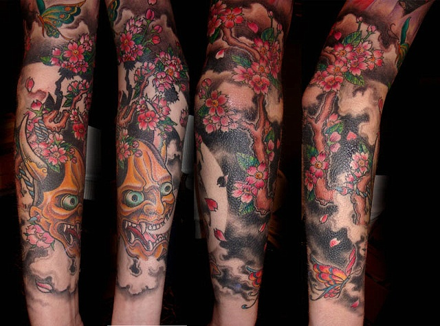 Black Cat Tattoos - Hannya/geisha sleeve close up