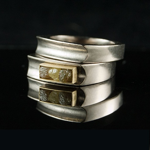 Wedding Ring Set 3 Rough Diamond Cubes 18k gold Palladium