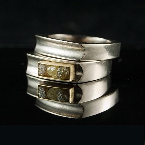 Wedding Ring Set 3 Rough Diamond Cubes 18k gold Palladium